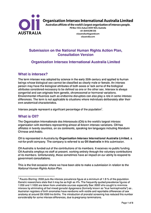 OII Australia submission for the National Human Rights Action Plan